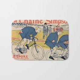 Toulouse-Lautrec vintage cycling ad Bath Mat