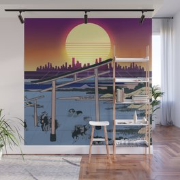 Synthwave Space: Views of mount Fuji #1 Wall Mural