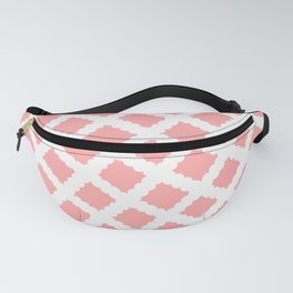 Coral Pink & White Diagonal Grid Pattern - Black & Pink - Mix & Match with Simplicity of Life Fanny Pack