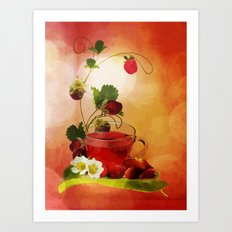 Erdbeertee Art Print