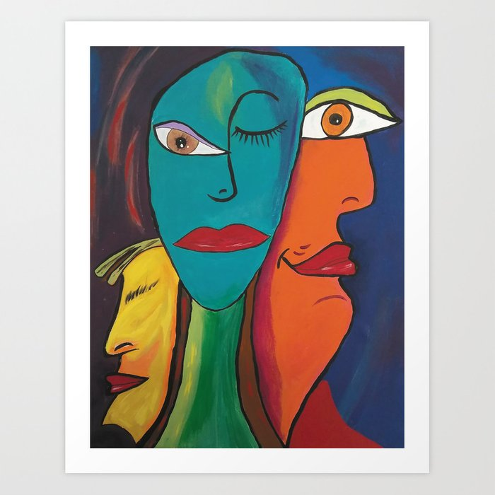 Picasso Inspired Abstract Faces Art Print By Lynnlewis