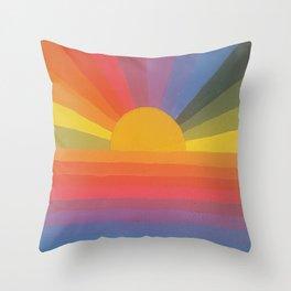 Rainbow Love 2 and sun Throw Pillow