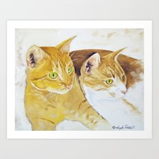 Golden Cats Art Print