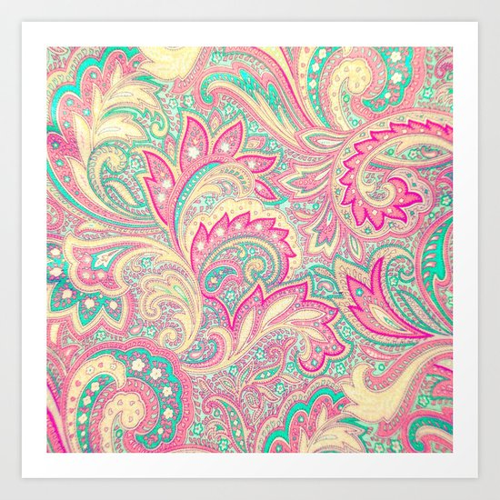 Pink Turquoise Girly Chic Floral Paisley Pattern Art Print