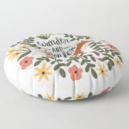 Fox and Flowers - Wander and Wonder Floor Pillow