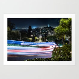 Light trail - Lombard Street - San Francisco Art Print