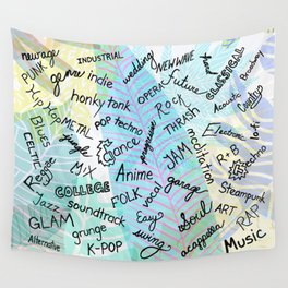 Colourful Music Categories Handwriting Wall Tapestry
