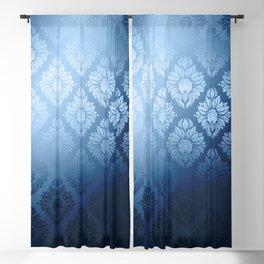 """""""Navy blue Damask Pattern"""" Blackout Curtain"""