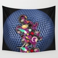 spaceship Wall Tapestries featuring Spaceship Mickey by DisPrints