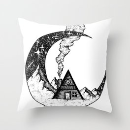 Cabin on the Moon Throw Pillow