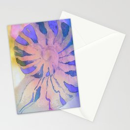 NAUTILUS SEA SHELL BLUE AND PURPLE IMPRESSIONS Stationery Cards