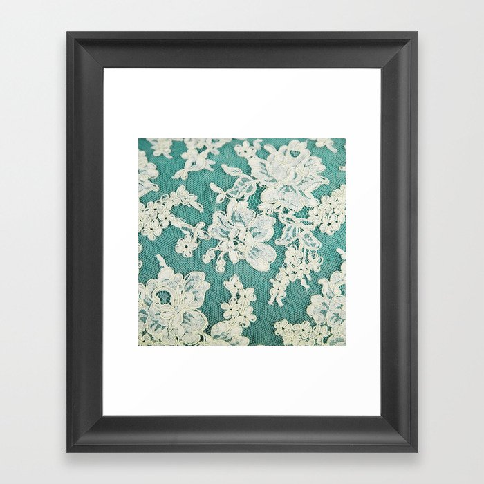 white lace - photo of vintage white lace Framed Art Print