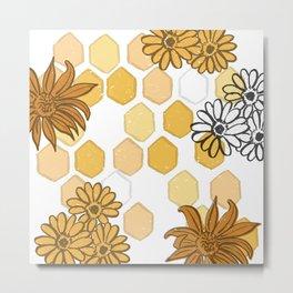 Honey Flower Pattern (Illustration, Surface Design) Metal Print