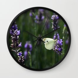 White Butterfly in a Lavender Field Wall Clock