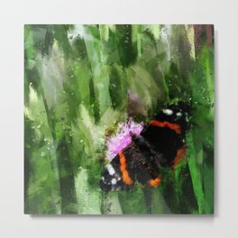 Red Admiral Butterfly On Abstracted Background Metal Print