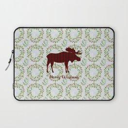 Winter Wreath Merry Christmas Red Buffalo Plaid Reindeer Laptop Sleeve