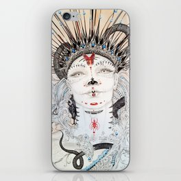 Day of the Dead Portrait Sugar skull with Moth and insect iPhone Skin