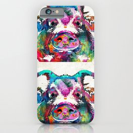 Colorful Pig Art - Squeal Appeal - By Sharon Cummings iPhone Case