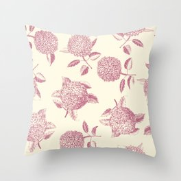 Big lush hydrangea flowers on off-white background seamless pattern. Pale pink. Atemporal, classic. Throw Pillow