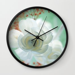 Pastell Flowers Rose Wall Clock