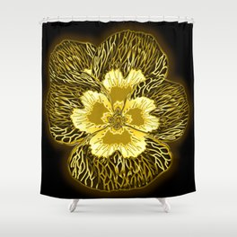 """Gold"" Pansy Flower Special Edition 1 (Black Back) Shower Curtain"