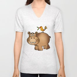 Hippo Po and Birdie Unisex V-Neck
