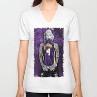 lakers V-neck T-shirts featuring Marilyn Monroe Los angeles Lakers with tattoos by Three Second