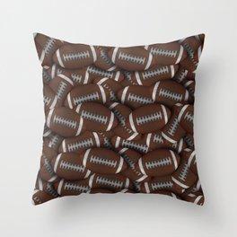 Football Field of Footballs Throw Pillow