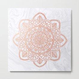 Rose Gold Mandala on White Marble Metal Print
