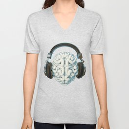 Mind Music Connection /3D render of human brain wearing headphones Unisex V-Neck