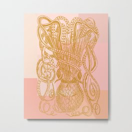 Octopus in Pink and Gold Metal Print