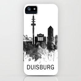 Duisburg Germany Skyline BW iPhone Case