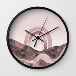 Rosegold Rainbow And Marble Gemstone Abstract Landscape Wall Clock