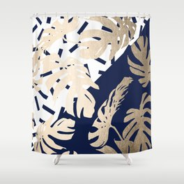 Simply Tropical Nautical Navy Memphis Palm Leaves Shower Curtain