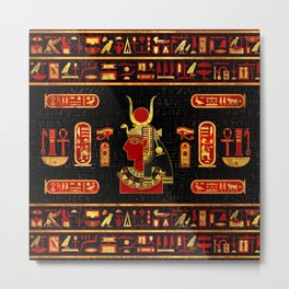 Hathor Egyptian Ornament Gold and Red glass Metal Print