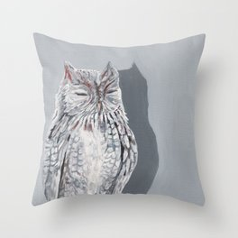 Grey Screech Owl Throw Pillow