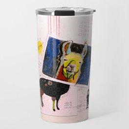 Llama Just Killed A Man mixed media collage llama art by Michel Keck Travel Mug