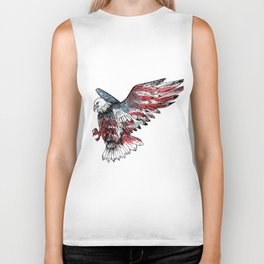 Watercolor bald eagle symbol of the United States Biker Tank