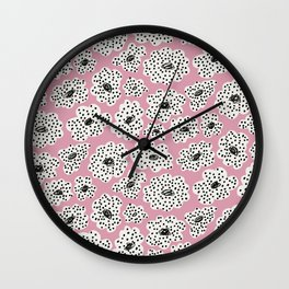 Spotted modern floral on dusty pink Wall Clock