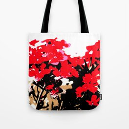 Red Flowers Garden Tote Bag