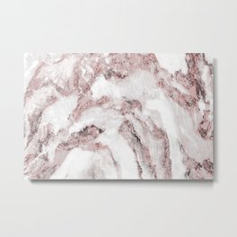 White and Pink Marble Mountain 01 Metal Print