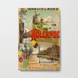 Hollande 1895 Vintage Travel Poster Metal Print