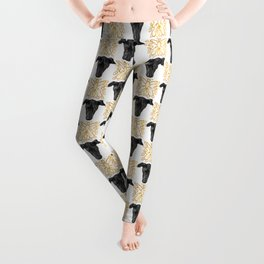 Black Greyhound Faces & Decorative Butterfly Patterns Leggings