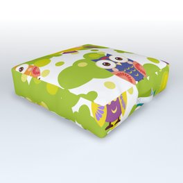 bright colorful owls and green leaves on white background Outdoor Floor Cushion