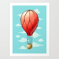 hot air balloon Art Prints featuring Hot Air Balloon by Freeminds
