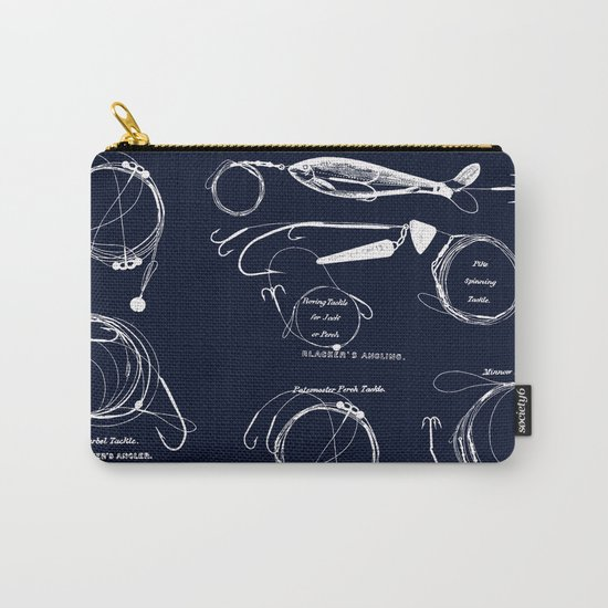 Maritime pattern- white fishing gear on darkblue backround Carry-All Pouch