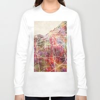 cleveland Long Sleeve T-shirts featuring Cleveland by MapMapMaps.Watercolors