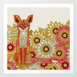 garden fox linen Art Print