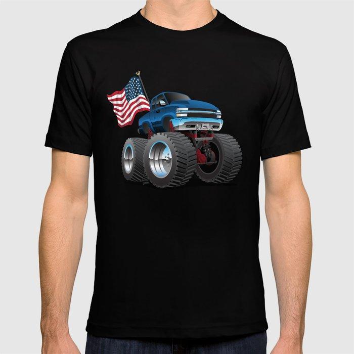 Monster Pickup Truck with USA Flag Cartoon T-shirt
