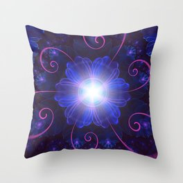 Beautiful Ultra Violet Fractal Nightshade Flower Throw Pillow